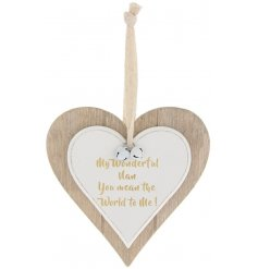 A double wooden heart hanging decoration with my wonderful nan quote