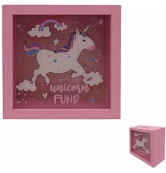 A pink and fabulous glass fronted Unicorn Funds money box.