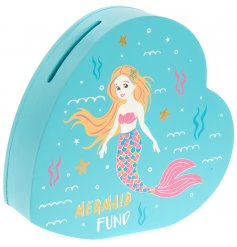 Have your own mermaid at home? Buy them this gorgeous and bright heart shaped money box so they can start saving!