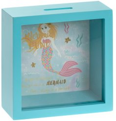 A fantastic picture box Mermaid money box in a lovely underwater aqua blue with a pretty colourful design.