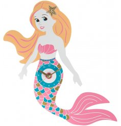 A colourful Mermaid wall clock with gold glitter features.