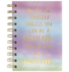 Scribble down your dreams and big ideas in this fabulous Mermaid slogan notebook.