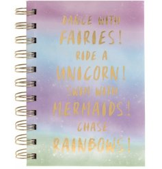 Plan those big adventures with this magical Fairy, Unicorn, Mermaid and Rainbow slogan notebook.