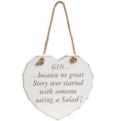 A stylishly shabby chic themed hanging wooden heart plaque, complete with a comical script quote about Gin