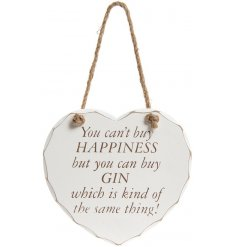 A stylishly shabby chic themed hanging wooden heart plaque, complete with a comical quote about Gin