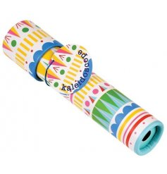 A colourful circus print kaleidoscope toy for kids