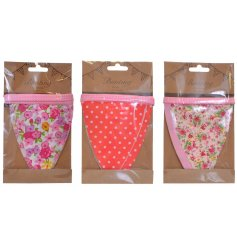 An assortment of 3 spotty/floral bunting flags