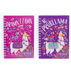 Add a sassy touch to your stationary sets with these quirky pink and purple Llama themed notebooks
