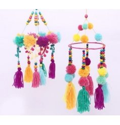 Add a funky pompom touch to any spring displays with this colourful hanging pompom mobile