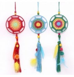 Add a throwback feel to any display scenes or bedrooms with this groovy multicolour pompom mobile