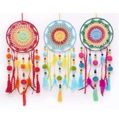 Add a funky pompom touch to any spring displays with this colourful assortment of hanging pompom dreamcatchers