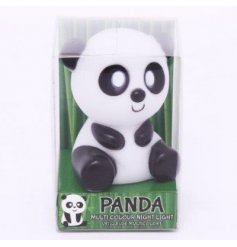 Add a changing coloured glow to any darkened room with this magical led panda night light