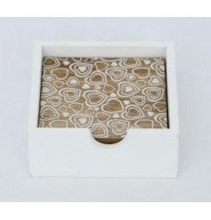Add a chic sweetheart touch to any decor with these simple wooden coasters