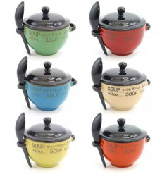 An assortment of 6 mini soup bowls each in a different colour design