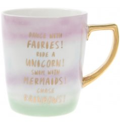 Pastel Pearl Fairy Unicorn and Mermaid Mug   Drink in style with this glam looking mug