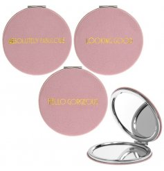 A glamorously styled pink faux leather compact mirror with a chic gold assortment of quotes