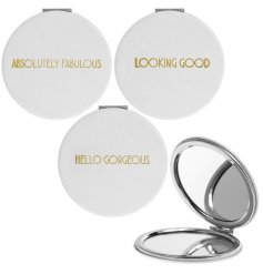 A glamorously styled white faux leather compact mirror with a chic gold assortment of quotes
