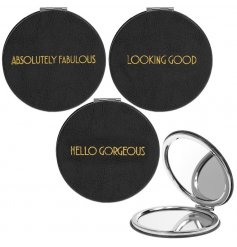 A glamorously styled black faux leather compact mirror with a chic gold assortment of quotes