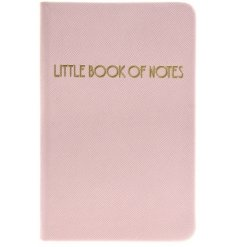 "A glamorously styled pink faux leather notebook with a chic gold ""Little Book of Notes"" quote"