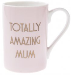 """A stylish nude pink toned china mug, complete with a chic gold """"Totally Amazing Mum"""""""
