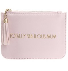 """A glamorously styled pink faux leather purse with a chic gold """"Totally Fabulous Mum"""" quote"""