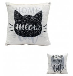 Brush up one side for a silhouette cat look or brush down for a sweet heart felt quote about your cuddly kitty