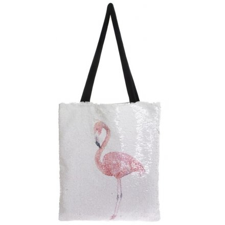 Add a fun flamingo touch to your shopping sprees with this chic sequin shopping bag
