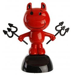 In a bright red colour and happy smiling face, this devil will dance away in any sunlit area