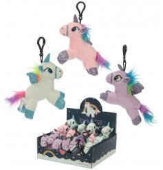 Add a fun unicorn feel to your keys or handbag with this magical plush keyring