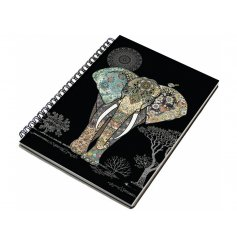 An A5 elephant pattern notebook