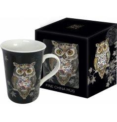 An Art Owl China Mug In Gift Box