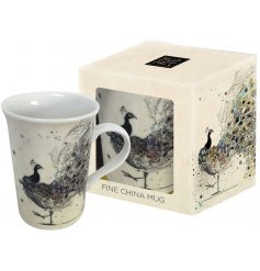 A painted Peacock Mug In a Box