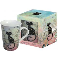 An Artistic Black Cat Mug In a Gift Box