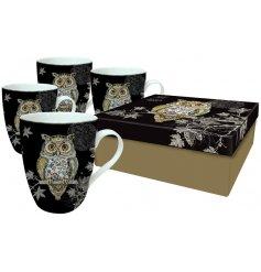 A set of 4 Art Owl China Mugs In Gift Box