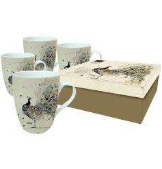 A set of 4 peacock design mugs in a box