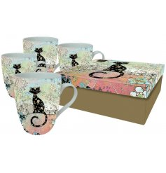 A set of 4 Artistic Black Cat Mugs In Gift Box