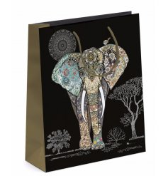 Detailed Elephant Gift Bag - Medium  Bring a beautiful pure and warm feel to any gift with this gorgeous gift bag