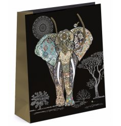 Detailed Elephant Gift Bag - Large   Bring a beautiful pure and warm feel to any gift with this gorgeous gift bag
