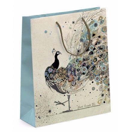 Elegant Peacock Gift Bag - Medium
