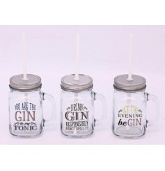 Bring a fun Gin inspired tone to your home with these assorted glass drinking jars