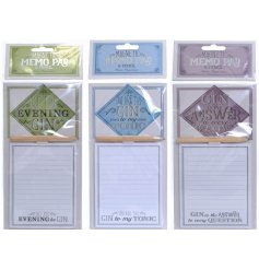 Bring a fun Gin inspired tone to your home with these assorted magnetic memopads,
