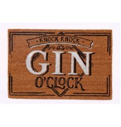Add a gin inspired touch to your front door with this comical 'Knock Knock Its Gin O'clock' door mat