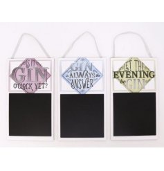 Bring a fun Gin inspired tone to your home with these assorted wooden chalkboard plaques,