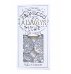 Prosecco Glitter Tlight Candles  Simple white tlights in a prosecco inspired packaging