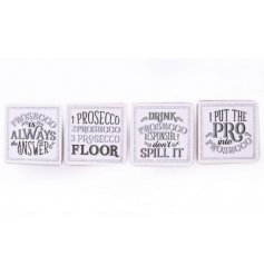 Bring a glittery touch to any home decor with these sparkling silver and white glittered coaster assortments
