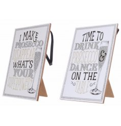 Bring a glittery touch to any home decor with these silver and white glittered wooden plaques