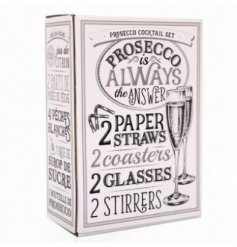 Learn how to make that perfect Prosecco Cocktail with this fun All You Need Gift Set