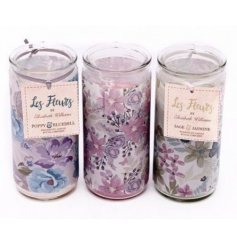 These green, pink and purple wax tube candles in glass pots come in beautiful floral and butterfly inspired design