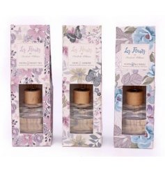 An assortment of 3 floral scented reed diffusers