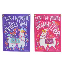 Add a sassy touch to your home decor with these quirky pink and purple Llama themed hanging signs